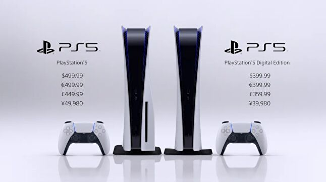 The PS5 hardware configuration features one with a disc drive and one without