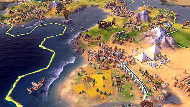Strategy games like Civilization offer a different flavour of emergent gameplay by simulating a whole world that changes over time