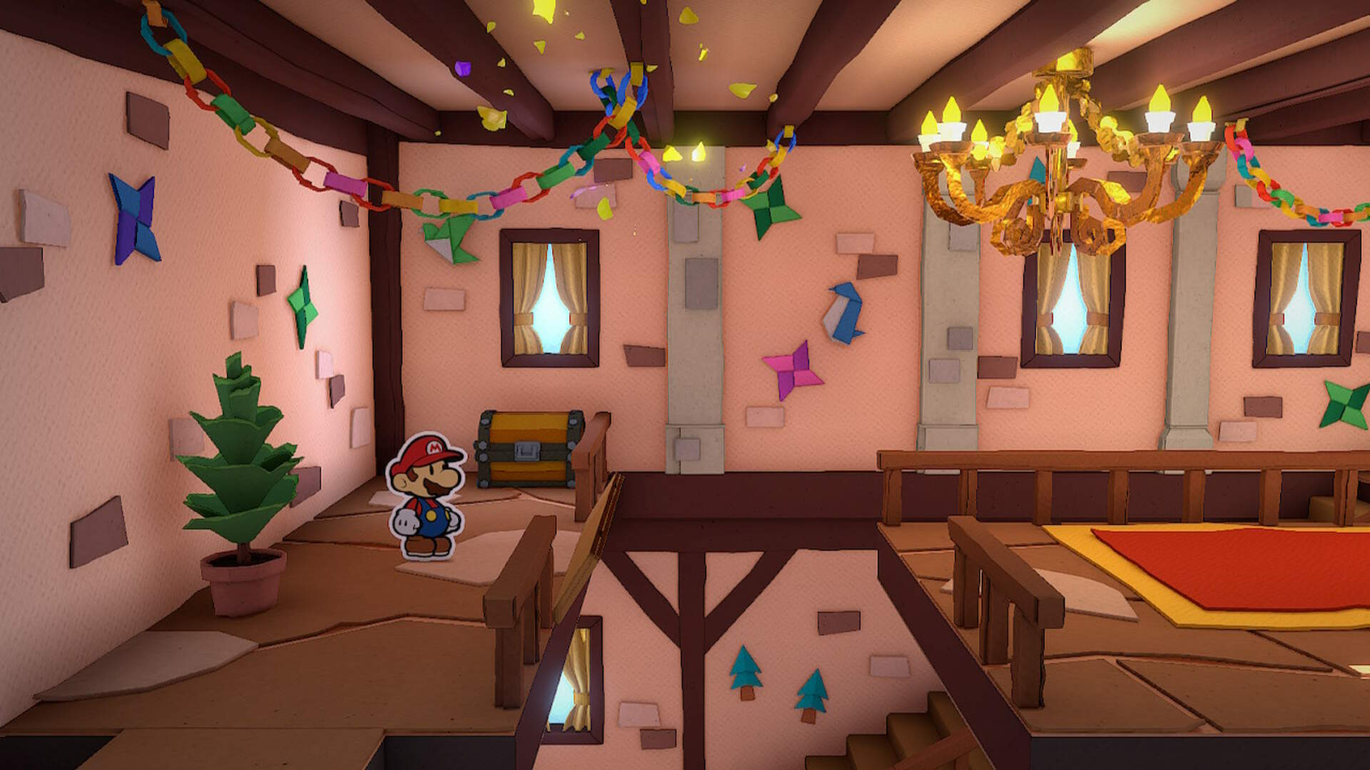 Paper Mario The Origami King: How to Get On the Roof of the Mansion in Toad Town