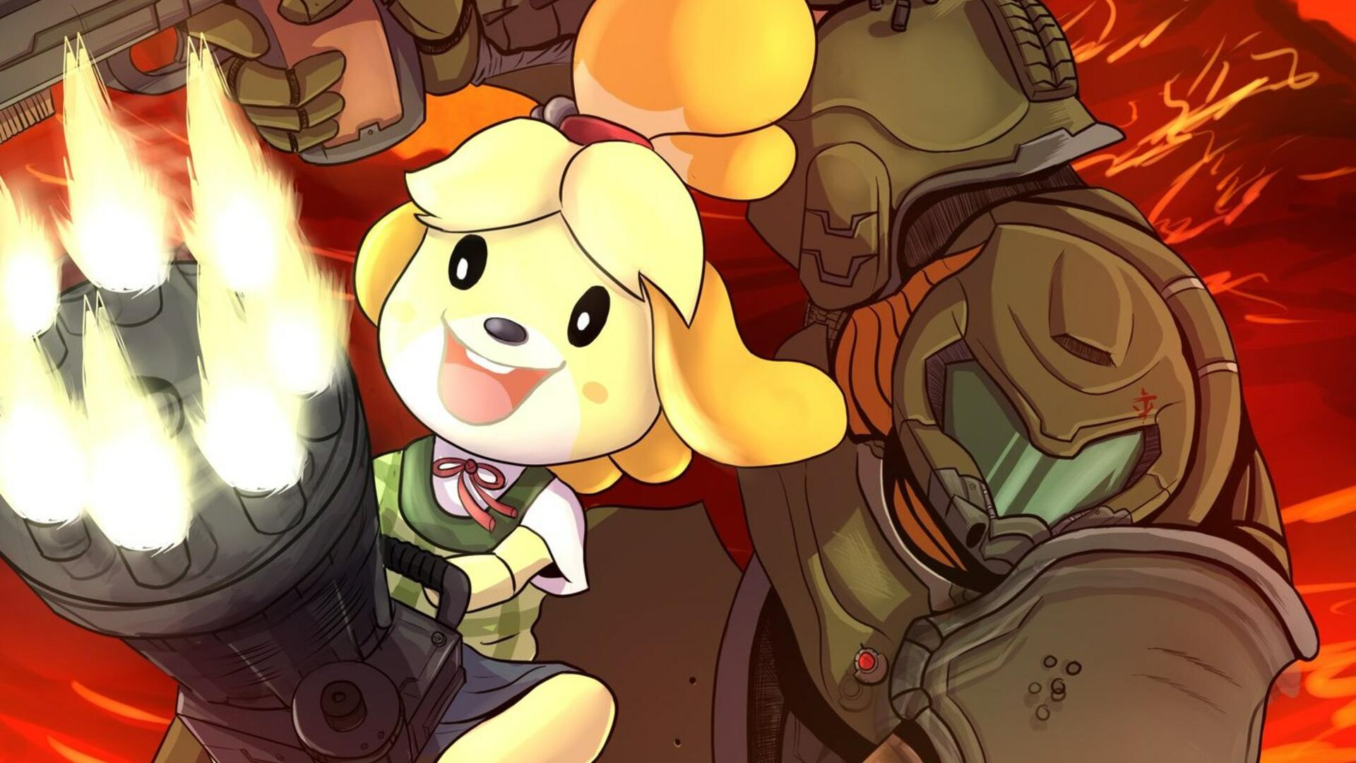 Doomguy And Isabelle Are Teaming Up In Some Adorable Crossover Art