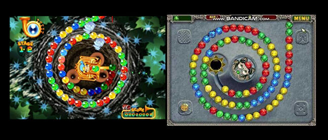 Left: Puzzloop, released in 1998 by Mitchell Corporation in Japan. Right: Zuma, released in 2009 by PopCap Games in USA. Very similar, but are they the same? PopCap's lawyers did not think so.