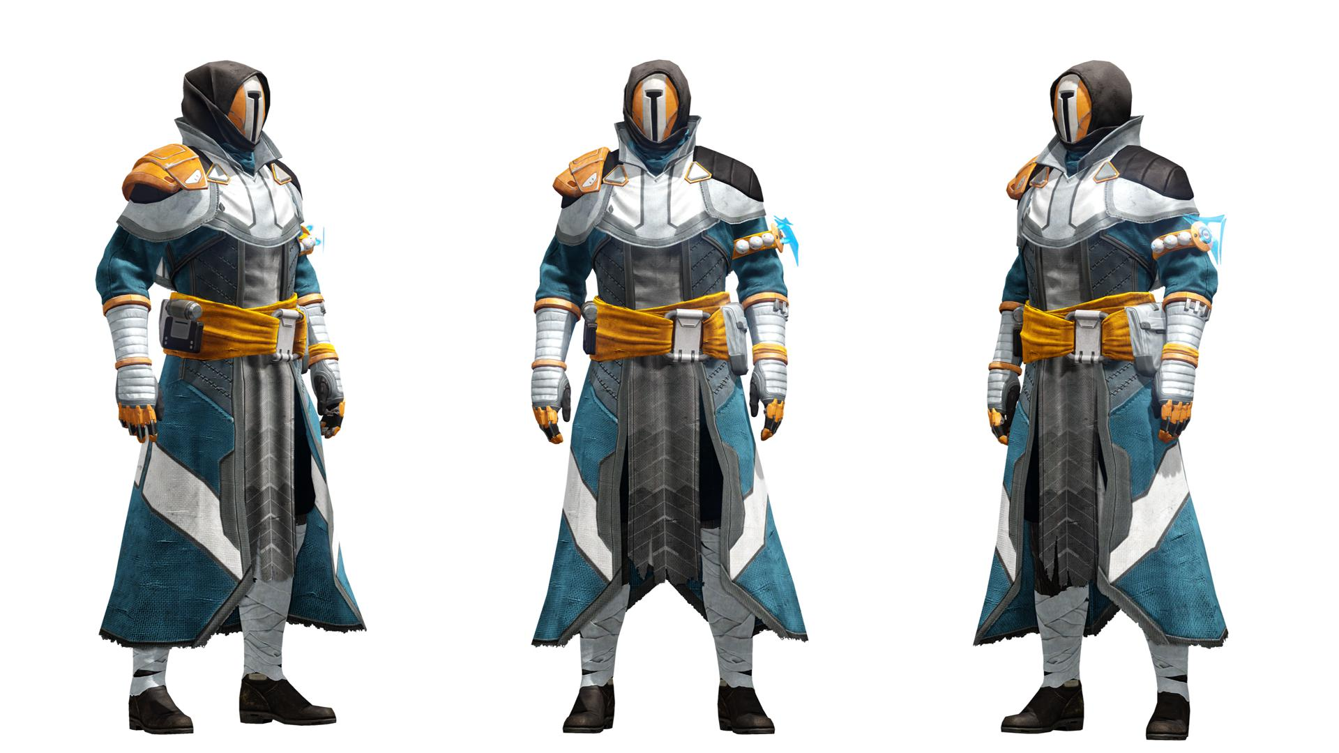 From left to right hunter armor warlock armor and titan armor